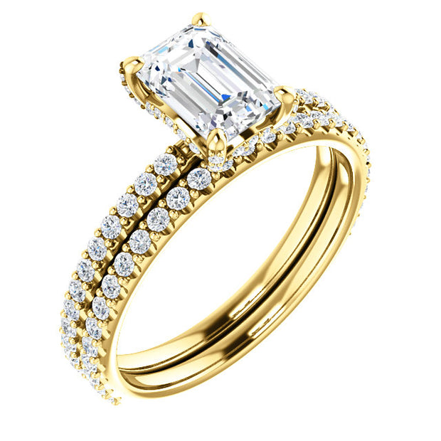 2.50 Ct. Under Halo Emerald Cut Diamond Bridal Ring Set H Color VS1 GIA Certified
