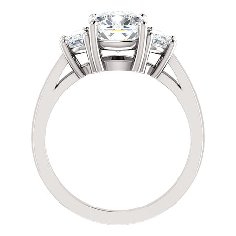 3.00 Ct. Cushion Cut & Half Moons 3-stone Diamond Ring H Color VS2 GIA Certified