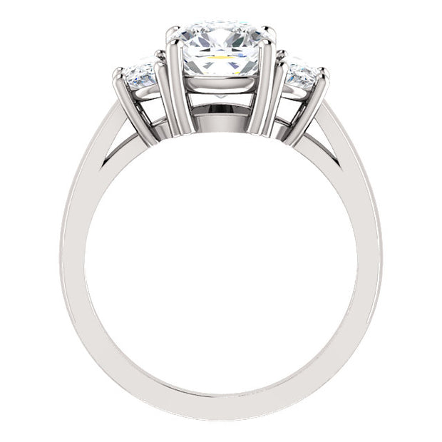 3.30 Ct. Cushion Cut & Half Moons 3-stone Diamond Engagement Ring H VS2 GIA Certified