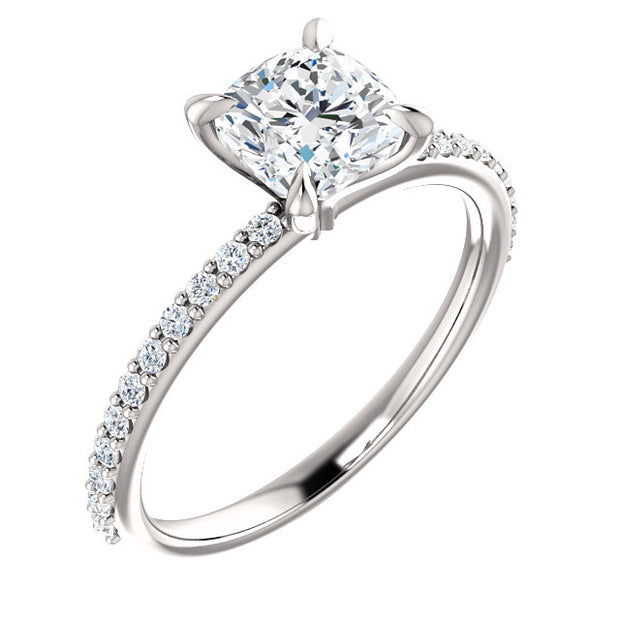 3.25 Ct. Cushion Cut Solitaire Diamond  Ring w Accents H Color VS1 GIA Certified