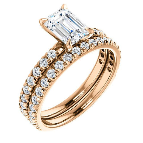French Pave Emerald Cut Diamond Engagement Ring Set Rose Gold