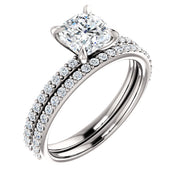 1.70 Ct. Clasico Cushion Cut Diamond Ring w Matching Band H Color VS1 GIA Certified