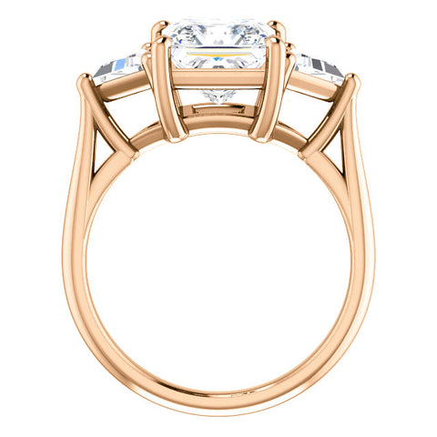 4.00 Ct. Three Stone Princess Cut w Trillion Cut Diamond Ring H Color VS1 GIA Certified