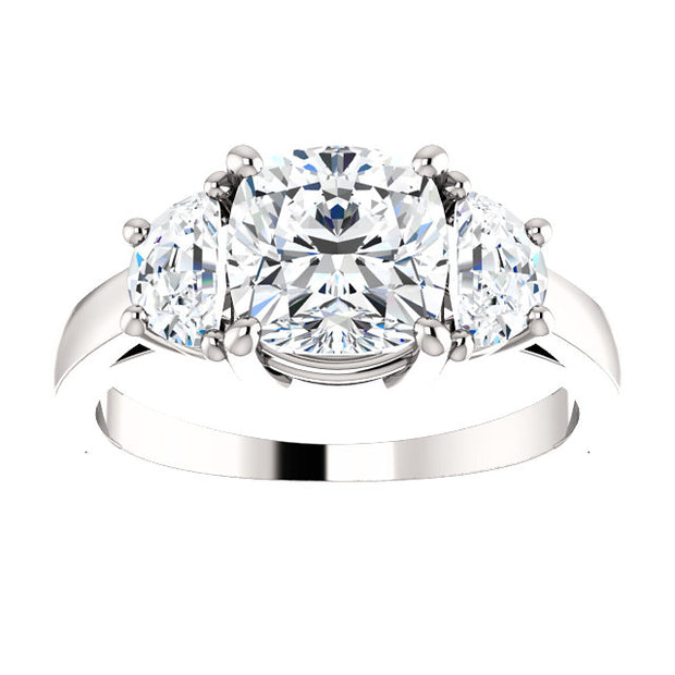 4.00 Ct. Cushion Cut & Half Moons 3-stone Diamond Ring H Color VS1 GIA Certified