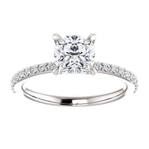 1.95 Ct. Cushion Cut Solitaire Diamond Ring with Accents E Color VS1 GIA Certified