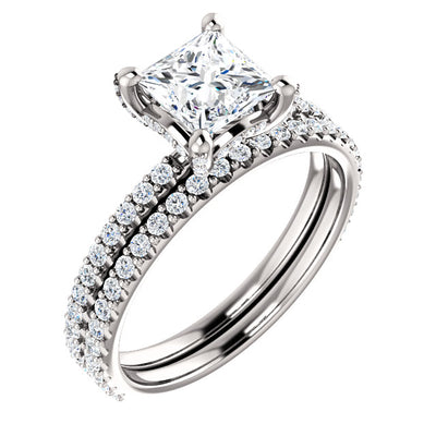 2.20 Ct. Under-Halo Princess Cut Diamond Ring w Matching Band G, VS1 GIA Certified