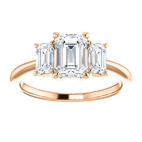 3 Stone Emerald Cut Diamond Engagement Ring rose gold