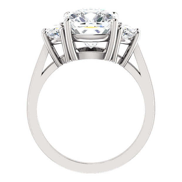 5.00 Ct. 3-stone Cushion Cut & Half Moons Diamond Engagement Ring J VS2 GIA Certified