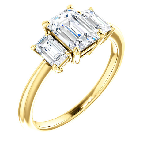 3 Stone Emerald Cut Diamond Engagement Ring yellow gold