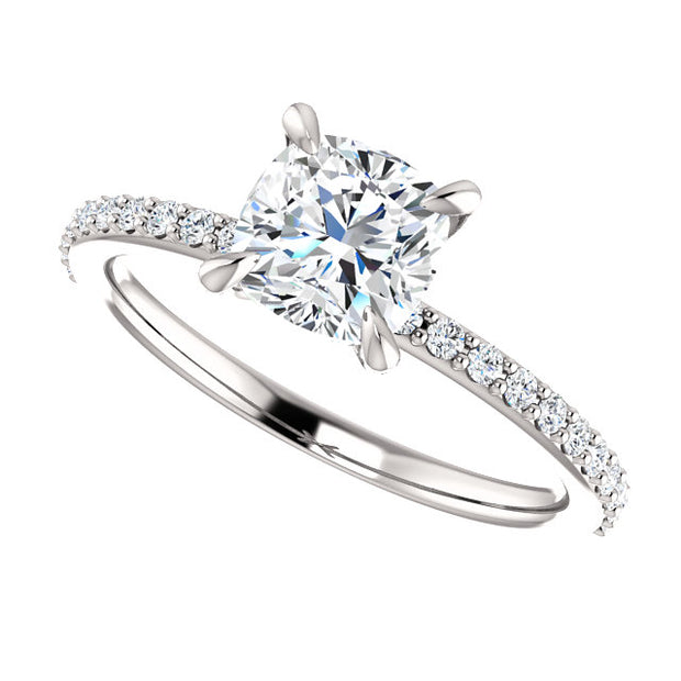1.90 Ct. Cushion Cut Diamond Engagement Ring w Matching Band F VS1 GIA certified