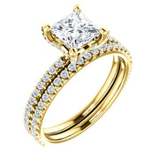 2.00 Ct. Under-Halo Princess Cut Diamond Ring w Matching Band H, SI1 GIA Certified