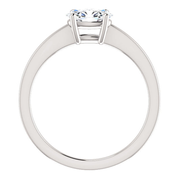 1.00 Ct. East West Oval Cut Diamond Solitaire Ring F Color VS2 GIA Certified