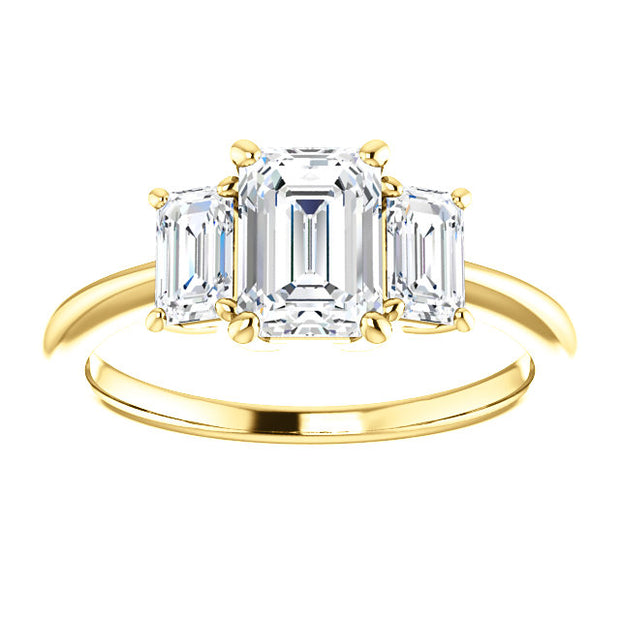 2.10 Ct. 3 Stone Emerald Cut Diamond Engagement Ring H Color VS2 GIA certified