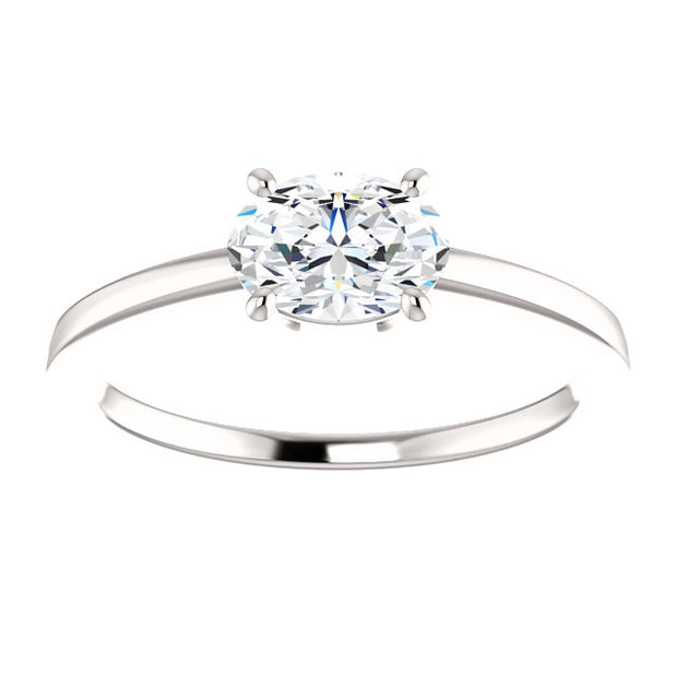 1.20 Ct. East West Oval Cut Diamond Solitaire Ring F Color VS2 GIA Certified