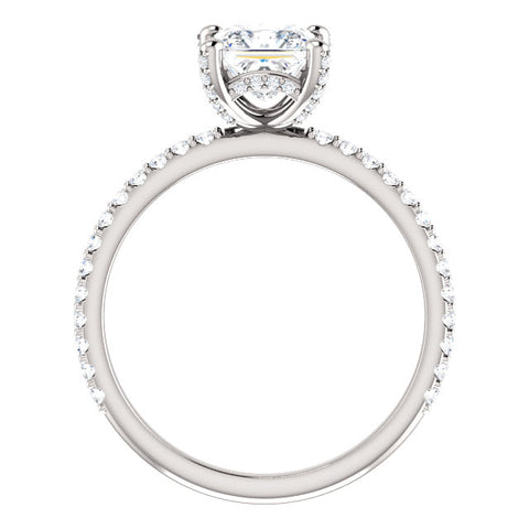 1.90 Ct. Hidden Halo Princess Cut Diamond Engagement Set E Color VS1 GIA Certified