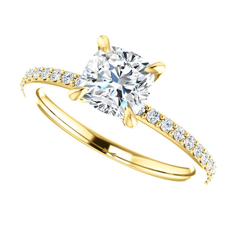 2.00 Ct. Cushion Cut Diamond Engagement Set I Color IF GIA Certified
