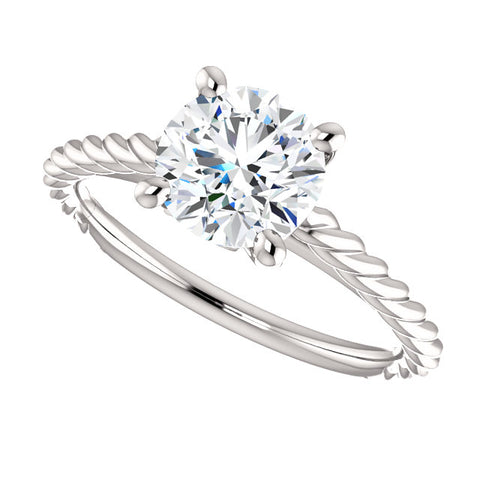1.10 Ct. Round Cut Rope Style Diamond Engagement Set G Color VS2 GIA Certified