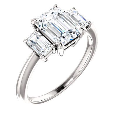 2.60 Ct. Three Stone Emerald Cut Diamond Engagement Ring H, VS2 GIA Certified