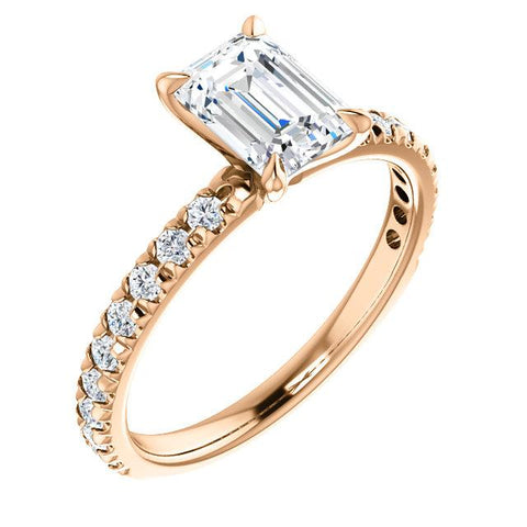 1.70 Ct. French Pave Emerald Cut Diamond Engagement Ring Set H Color VS1 GIA certified