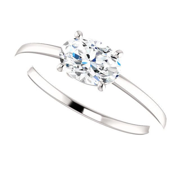 East West Oval Cut Diamond Solitaire Ring in white gold