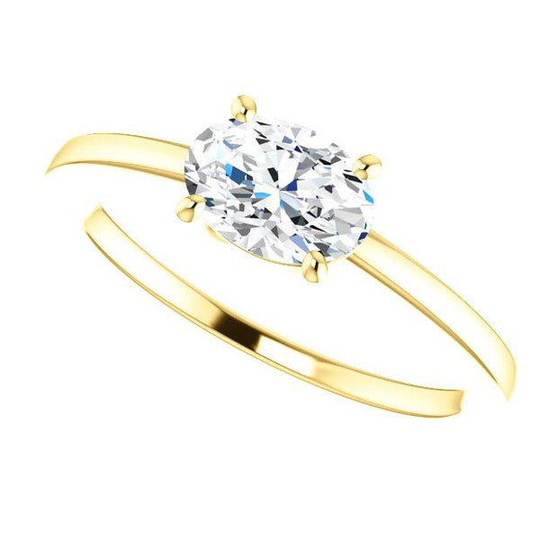 East West Oval Cut Diamond Solitaire Ring in yellow gold
