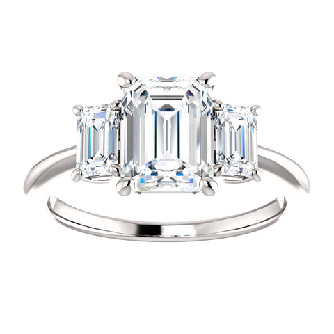 2.60 Ct Three Stone Emerald Cut Diamond Engagement Ring H Color VS2 GIA Certified