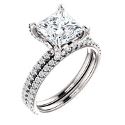 3.00 Ct. Under-Halo Princess Cut Diamond Ring w Matching Band I Color VS1 GIA Certified
