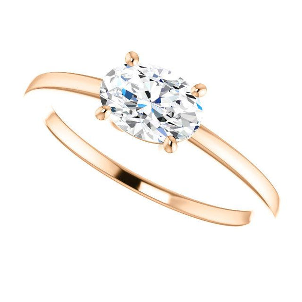 East West Oval Cut Diamond Solitaire Ring in rose gold