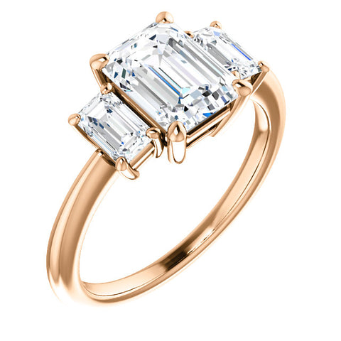 2.80 Ct. Emerald Cut 3 Stone Diamond Engagement Ring G VVS1 GIA Certified