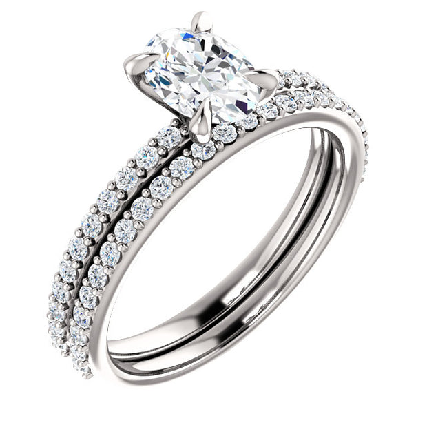 2.50 Ct. Oval Cut Diamond Ring w Matching Band GIA Certified H Color VS2 GIA Certified