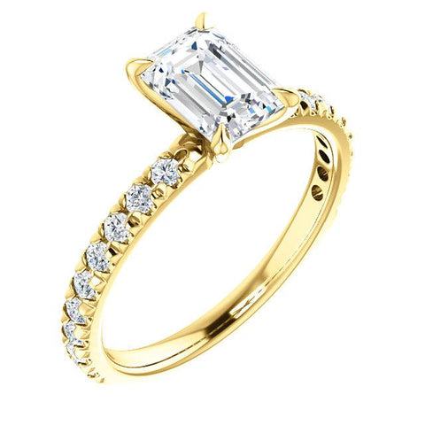 2.50 Ct. French Pave Emerald Cut Diamond Engagement Ring Set F Color VS1 GIA Certified