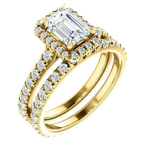 Halo Emerald Cut Diamond Engagement Set  yellow gold