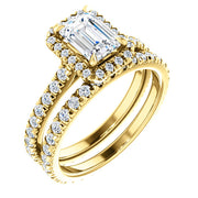 2.10 Ct. Halo Emerald Cut Diamond Engagement Set GIA F Color VS2 GIA Certified