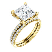4.00 Ct. Under-Halo Princess Cut Diamond Ring w Matching Band H VS2 GIA Certified