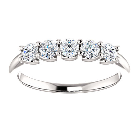 0.50 Ct. Round Cut 5 Stone Diamond Wedding Anniversary Ring G Color SI1 Clarity