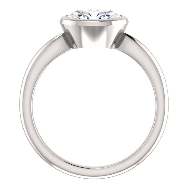 1.50 Ct. East West Oval Cut Diamond Solitaire Ring Bezel Set I Color VVS2 GIA Certified