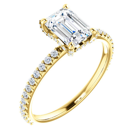 emerald cut diamond ring with diamonds on the prong, Under Halo yellow gold