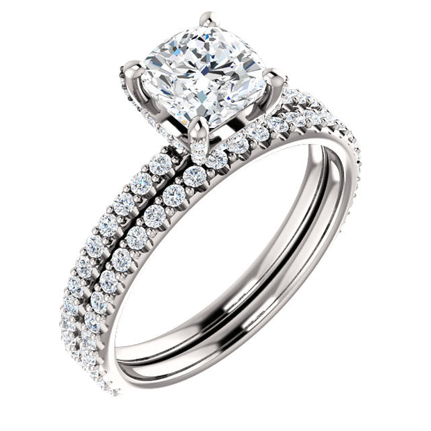 2.00 Ct. Under-Halo Cushion Cut Diamond Ring w Matching Band H VVS2 GIA Certified