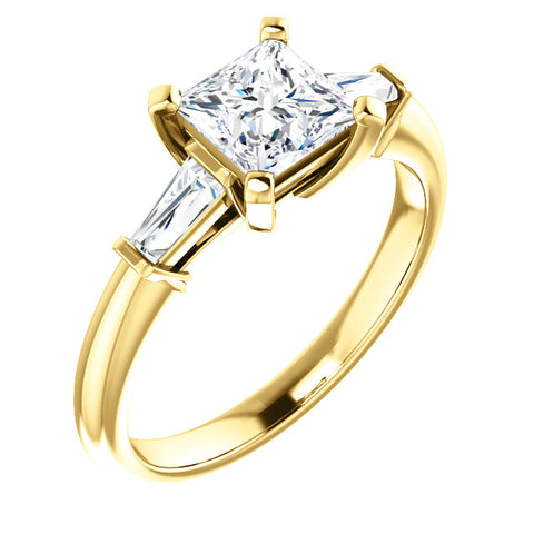 1.30 Ct. Princess Cut w Baguettes 3 Stone Diamond Ring  F Color VS2 GIA Certified