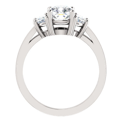 2.50 Ct. Cushion Cut n Half Moons 3 Stone Diamond Ring F Color VS1 Clarity GIA Certified