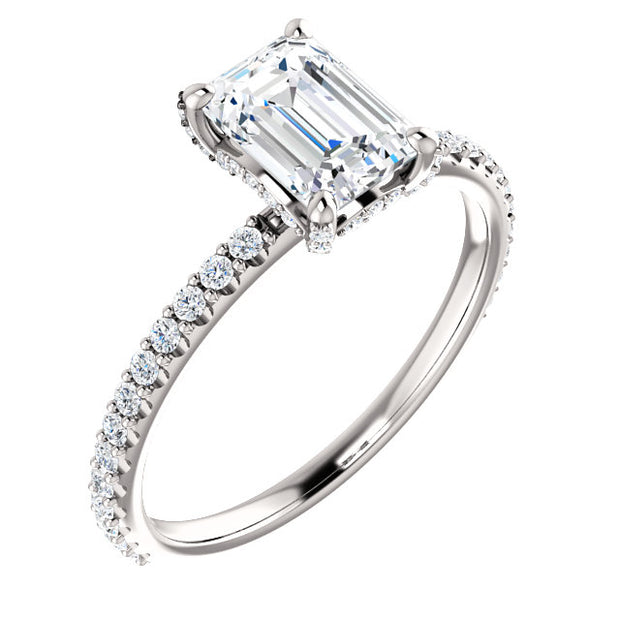 emerald cut diamond ring with diamonds on the prong, Under Halo