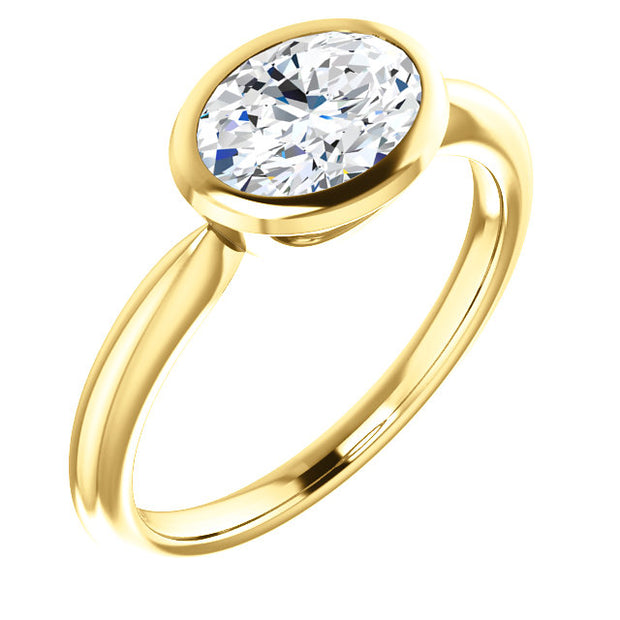 1.20 Ct. East West Oval Cut Diamond Solitaire Ring Bezel Set H Color VS2 GIA Certified