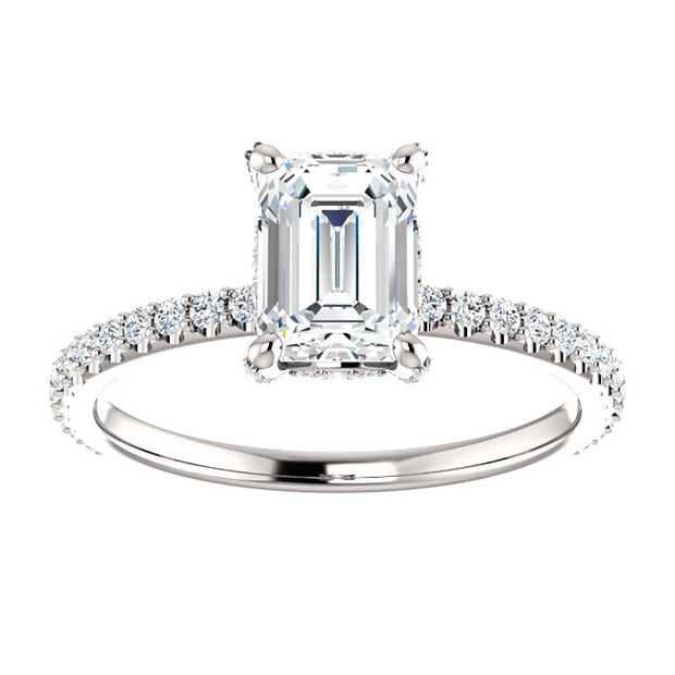 4.00 Ct. Emerald Cut Under Halo Diamond Engagement Ring Set J Color VS1 GIA Certified