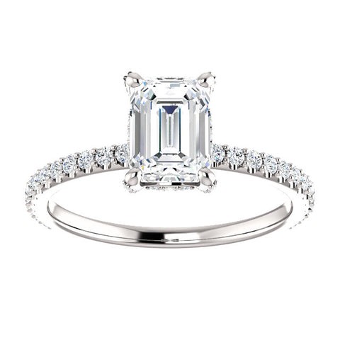 2.00 Ct. Diamond Basket Emerald Cut Diamond Ring H Color VVS1 GIA Certified