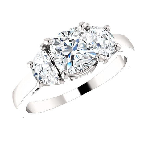 3 Stone Diamond Ring Cushion Cut n Half Moons