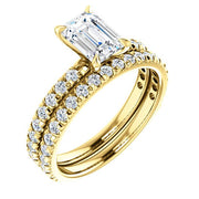 French Pave Emerald Cut Diamond Engagement Ring Set Yellow Gold