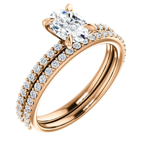 1.80 Ct. Classico Oval Cut Diamond Engagement Ring Set E Color SI1 GIA Certified