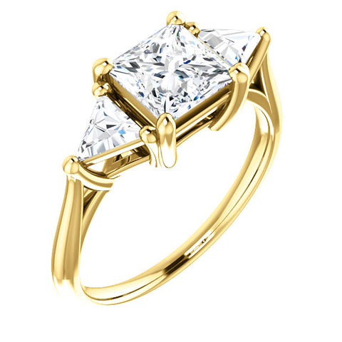 2.10 Ct. Princess w Trillion Cut 3 Stone Diamond Ring E Color VS1 GIA Certified