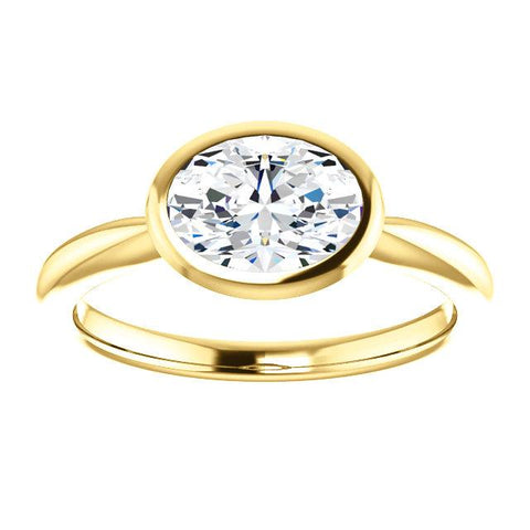 1.00 Ct. East West Oval Cut Diamond Solitaire Ring Bezel Set F Color VS2 GIA Certified