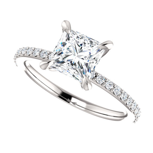 2.10 Ct. Classic Princess Cut Diamond Ring w Matching Band E Color VS1 GIA certified